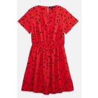 Curves Red Spot Shirred Mini Dress New Look
