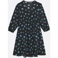 Maternity Black Floral Ruffle Wrap Dress New Look