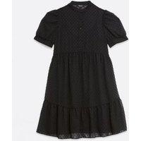 Maternity Black Chiffon Spot Shirt Smock Dress New Look