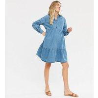 Maternity Blue Denim Smock Dress New Look
