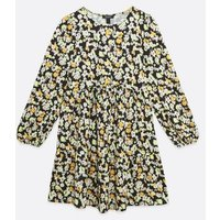 Maternity Black Floral Soft Touch Tiered Smock Dress New Look
