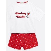 White Wine Is My Valentine Logo Short Pyjama Set New Look