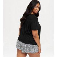 Curves Black Leopard Print Heart Short Pyjama Set New Look