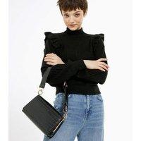 Black Faux Croc Wide Strap Shoulder Bag New Look