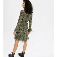 Gini London Green Spot Frill Shirred Waist Dress New Look