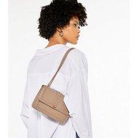 Mink Leather-Look Stud Chain Shoulder Bag New Look Vegan