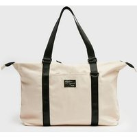 Cream Tab Front Sports Holdall Bag New Look