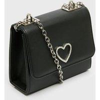 Girls Black Heart Diamanté Chain Shoulder Bag New Look Vegan