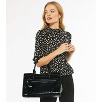 Black Faux Croc Studded Shopper Bag New Look