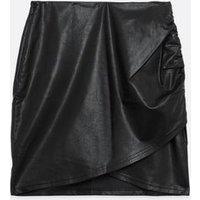 Black Leather-Look Ruched Mini Skirt New Look