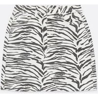 White Zebra Print Denim Mom Skirt New Look