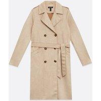 Mink Suedette Belted Mac Jacket New Look