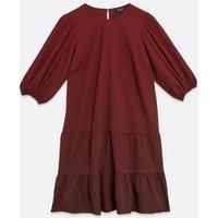 Maternity Burgundy Puff Sleeve Smock Dress New Look