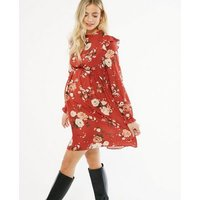 Maternity Red Floral Frill Neck Smock Dress New Look
