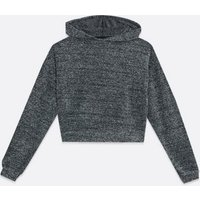 Girls Dark Grey Chenille Hoodie New Look