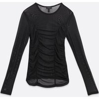 Black Ruched Front Mesh Top New Look