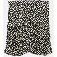 Black Spot Ruched Mini Skirt New Look