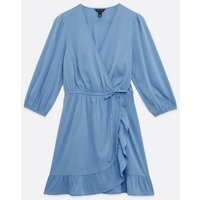 Blue Ruffle Wrap Mini Dress New Look
