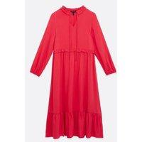 Bright Pink Frill Tie High Neck Smock Midi Dress New Look