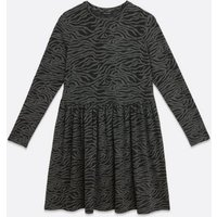 Light Grey Zebra Print Smock Dress New Look