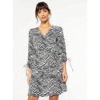 Black Zebra Print Ruched Wrap Dress New Look