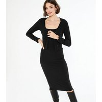 Black Ribbed Cardigan And Midi Dress Set New Look