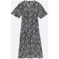 Black Star Print Tiered Midi Dress New Look