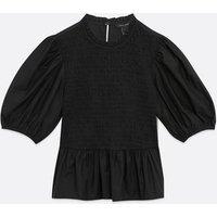 Black Shirred Puff Sleeve Peplum Top New Look