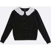 Black Broderie Collar Cardigan New Look