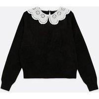 Black Broderie Collar Jumper New Look