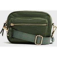 Khaki Zip Front Cross Body Camera Bag New Look
