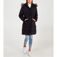 Blue Vanilla Black Faux Fur Trim Long Puffer Jacket New Look