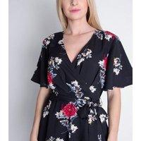 Cutie London Black Floral Wrap Dip Hem Midi Dress New Look