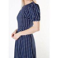 Cutie London Navy Spot Split Hem Maxi Dress New Look