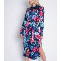 Cutie London Blue Floral Long Sleeve Shirt Dress New Look