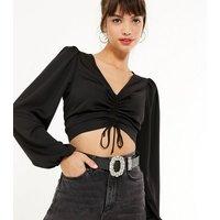 Black Leather-Look Gem Buckle Belt New Look