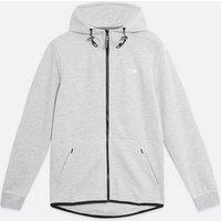 Men's Jack & Jones Pale Grey Logo Zip Hoodie New Look