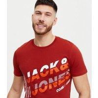 Men's Jack & Jones Red Colour Block Logo T-Shirt New Look