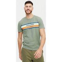 Men's Jack & Jones Dark Green Stripe Crew Neck T-Shirt New Look