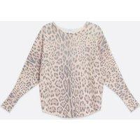 Blue Vanilla White Leopard Print Knit Batwing Top New Look