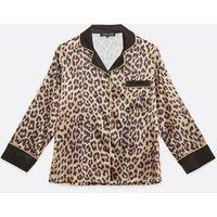 Cameo Rose Brown Leopard Satin Pyjama Top New Look