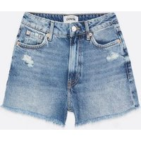 Petite Blue Ripped High Waist Denim Mom Shorts New Look