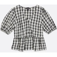 Off White Check Peplum Blouse New Look