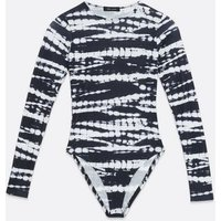 Black Zebra Tie Dye Soft Ribbed Bodysuit New Look