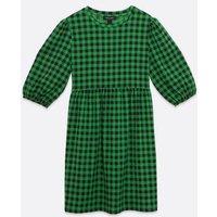 Green Gingham Textured Mini Smock Dress New Look