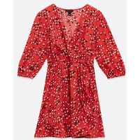 Red Ditsy Floral Wrap Frill Mini Dress New Look