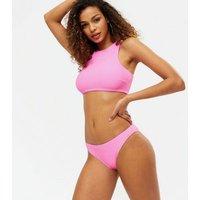 Pink Textured Hipster Bikini Bottoms New Look