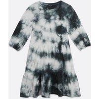 Black Tie Dye Tiered Smock Mini Dress New Look