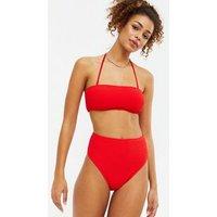 Red Textured Bandeau Bikini Top New Look