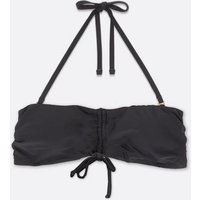 Black Ruched Tie Front Bandeau Bikini Top New Look